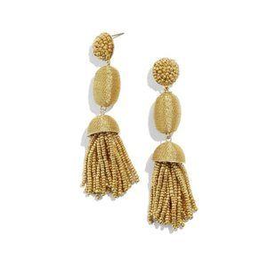 BaubleBar Gold Oval Drop Tassel Earrings
